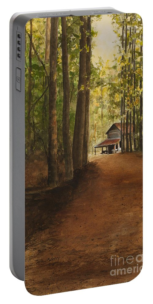 Barn Portable Battery Charger featuring the painting Dad's Place by Carla Dabney