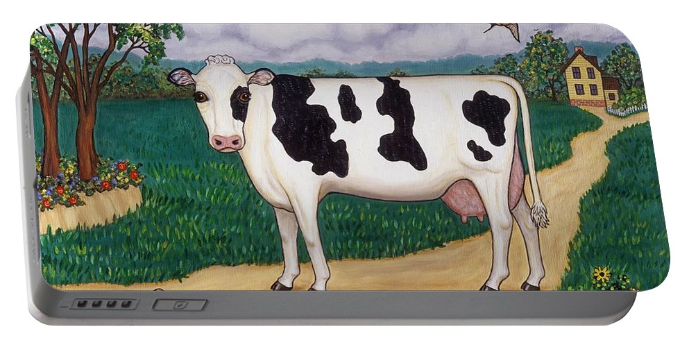 Cow Portable Battery Charger featuring the painting Dad's Prize Milk Cow by Linda Mears