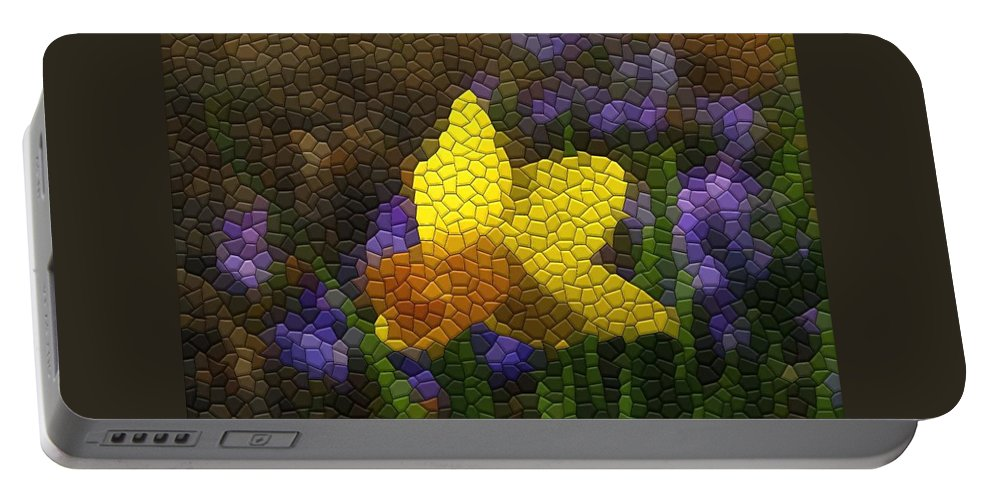 Mosaic Portable Battery Charger featuring the photograph Daffies And Blue Chionodoxas by Kathryn Meyer