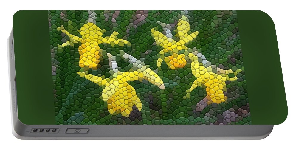 Mosaic Portable Battery Charger featuring the photograph Daffies by Kathryn Meyer