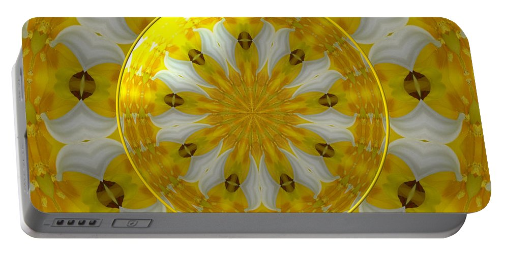 Daffodils Portable Battery Charger featuring the photograph Daffodil And Easter Lily Kaleidoscope Under Glass by Rose Santuci-Sofranko