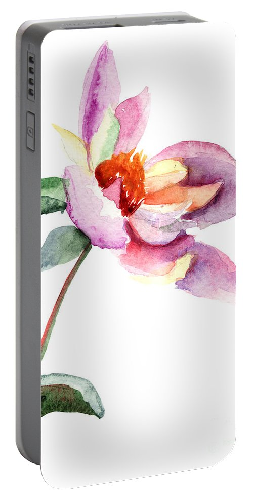 Art Portable Battery Charger featuring the painting Dahlia Flower by Regina Jershova