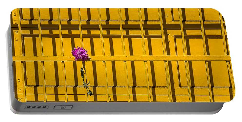 Pink Dahlia Portable Battery Charger featuring the photograph Dahlia In Yellow Gate by Garry Gay