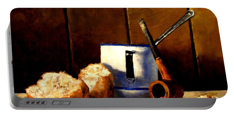 Still Life Portable Battery Charger featuring the painting Daily Bread Ver 1 by Jim Gola