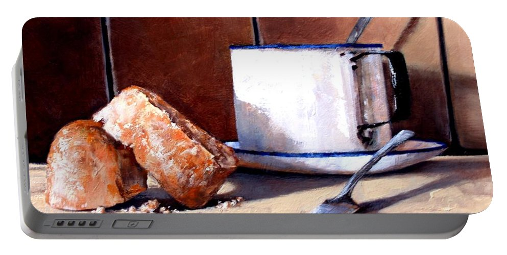 Still Life Portable Battery Charger featuring the painting Daily Bread Ver 2 by Jim Gola