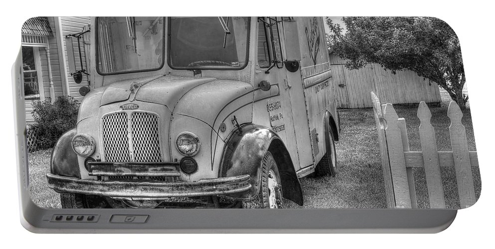 Dairy Truck Portable Battery Charger featuring the photograph Dairy Truck - Old Rosenbergers Dairies - Black And White by Liane Wright