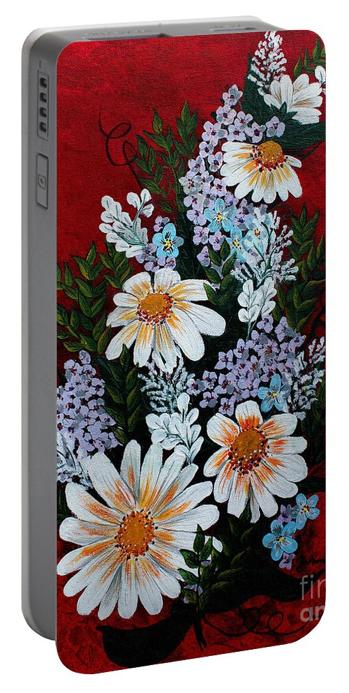Barbara Griffin Portable Battery Charger featuring the painting Daisies Lilacs And Forget Me Nots by Barbara Griffin