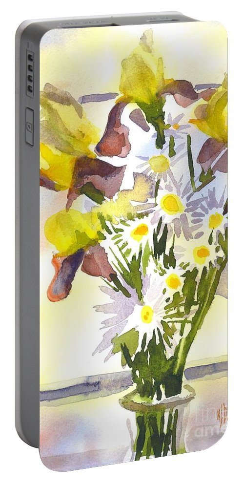 Daisies With Yellow Irises Portable Battery Charger featuring the painting Daisies With Yellow Irises by Kip DeVore