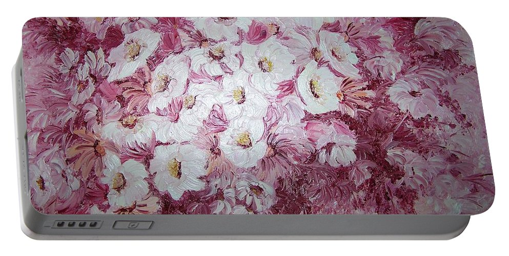 Portable Battery Charger featuring the painting Daisy Blush by Karin Dawn Kelshall- Best