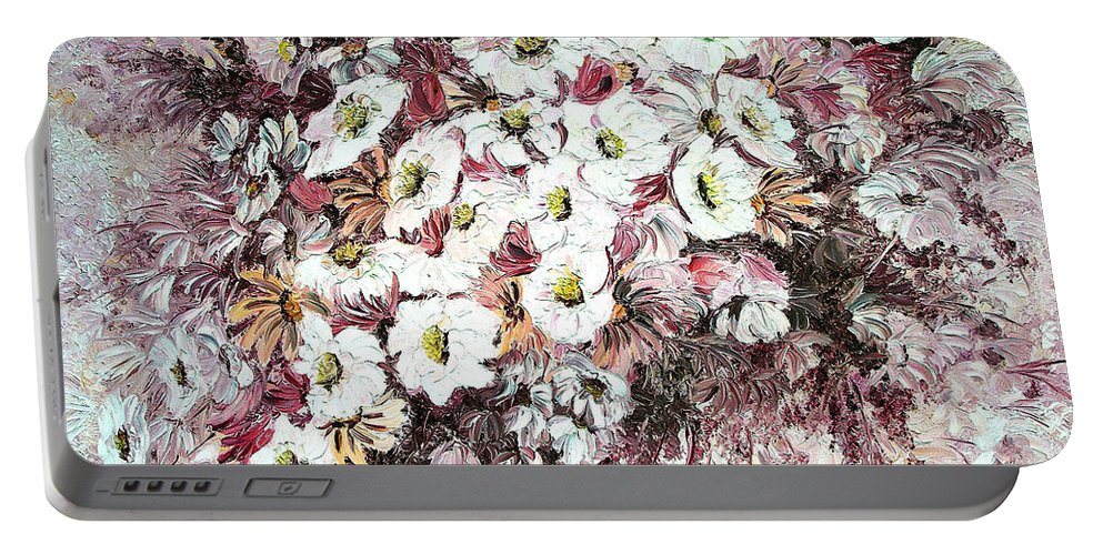 Portable Battery Charger featuring the painting Daisy Blush Remix by Karin Dawn Kelshall- Best