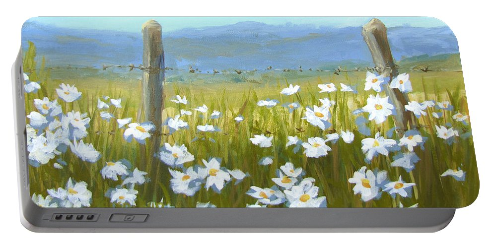 Flowers Portable Battery Charger featuring the painting Daisy Dance by Karen Ilari