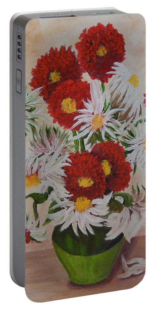 Daisy Portable Battery Charger featuring the painting Daisy Mae by Kathy Przepadlo