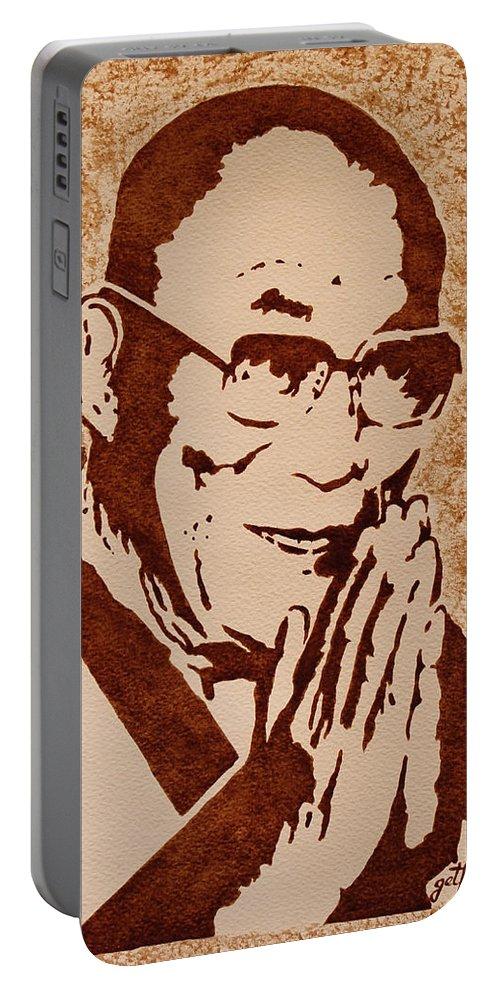 Dalai Lama Portable Battery Charger featuring the painting Dalai Lama Original Coffee Painting by Georgeta Blanaru
