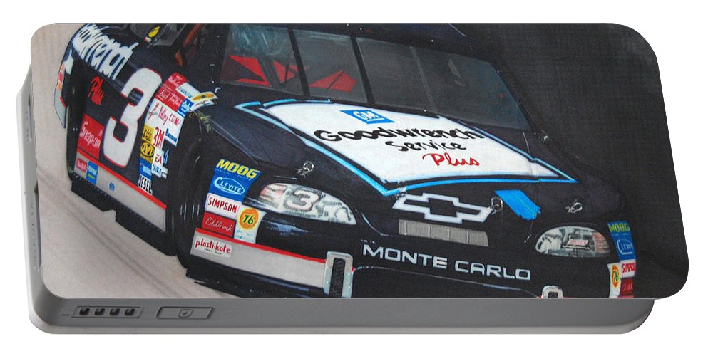 Car Portable Battery Charger featuring the drawing Dale Earnhardt At Bristol by Paul Kuras