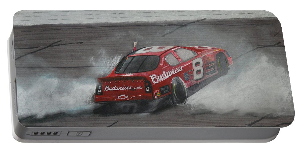 Car Portable Battery Charger featuring the drawing Dale Earnhardt Junior Victory Burnout by Paul Kuras