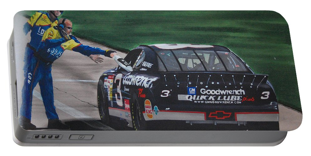 Car Portable Battery Charger featuring the drawing Dale Earnhardt Wins Daytona 500-pit Road Hand Shake by Paul Kuras