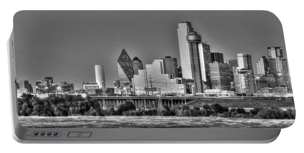 Dallas Portable Battery Charger featuring the photograph Dallas The New Gotham City by Jonathan Davison