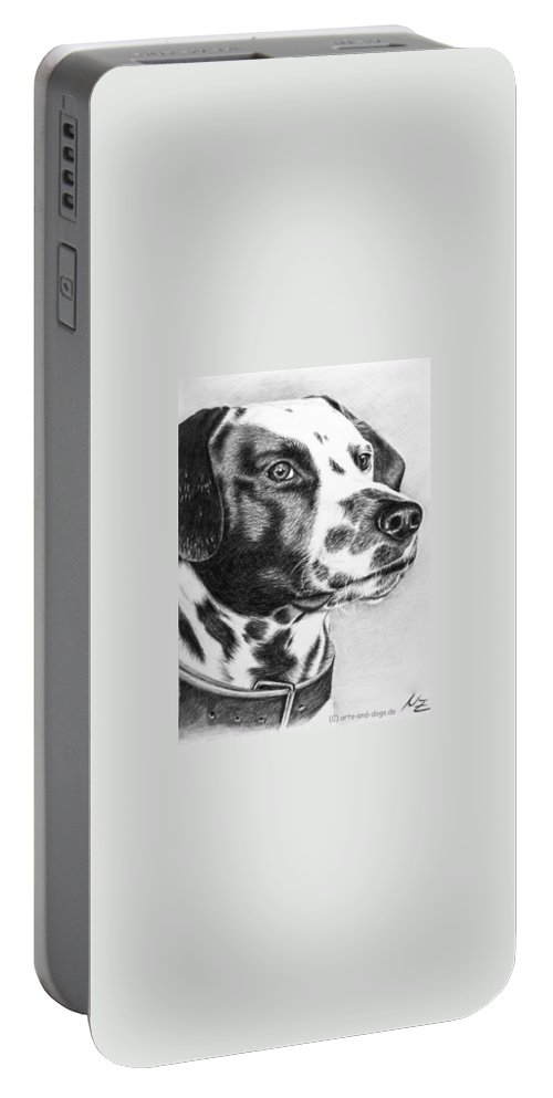 Dog Portable Battery Charger featuring the drawing Dalmatian Portrait by Nicole Zeug