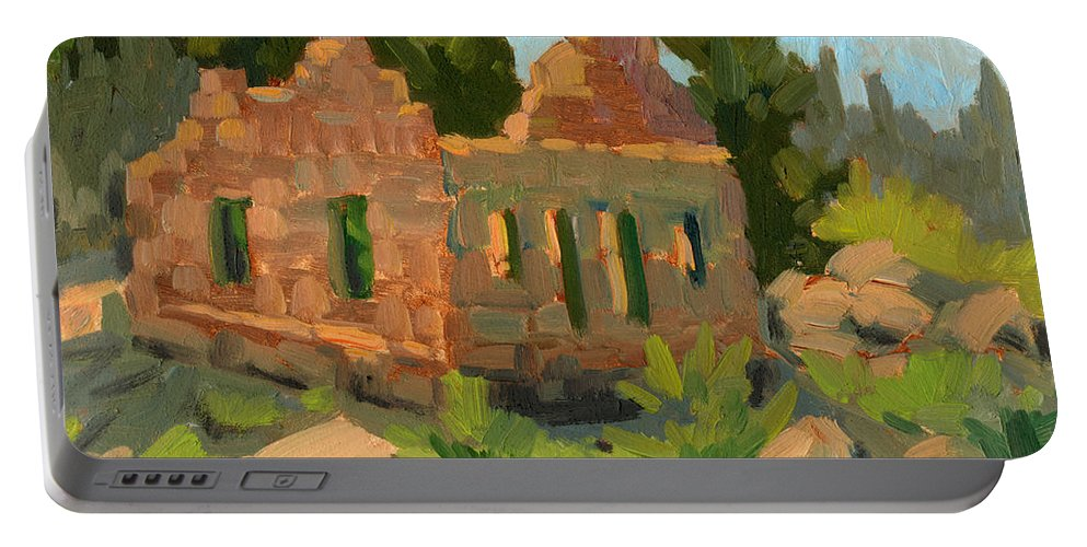 Bog Bear Lake Portable Battery Charger featuring the painting Dam Watcher's Old Home by Diane McClary