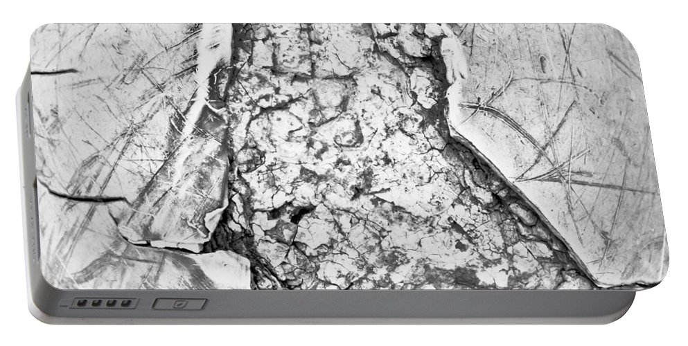 Abstract Portable Battery Charger featuring the photograph Damaged Metal by Tom Gowanlock