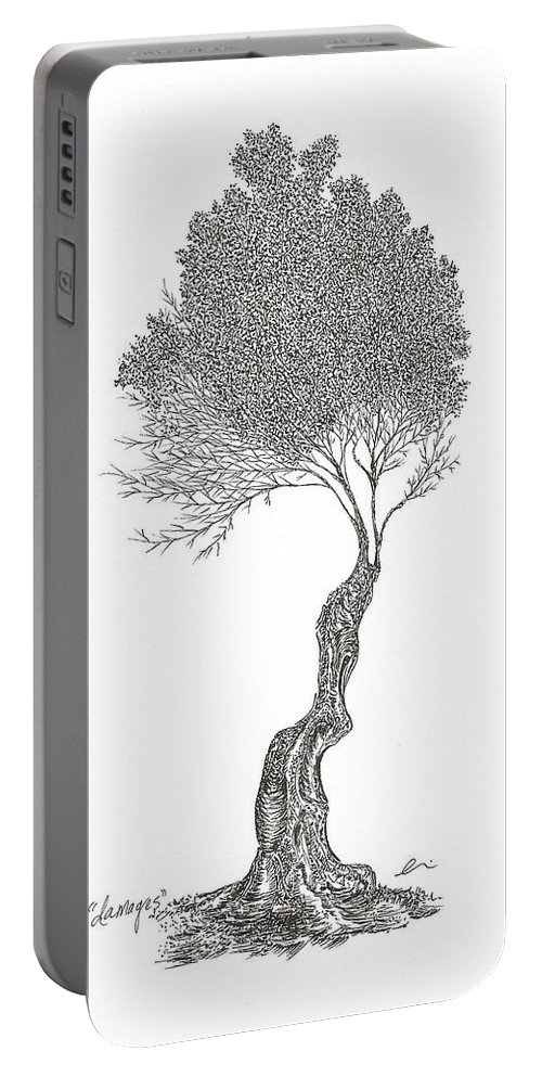 Tree Portable Battery Charger featuring the drawing Damages by Andrea Currie