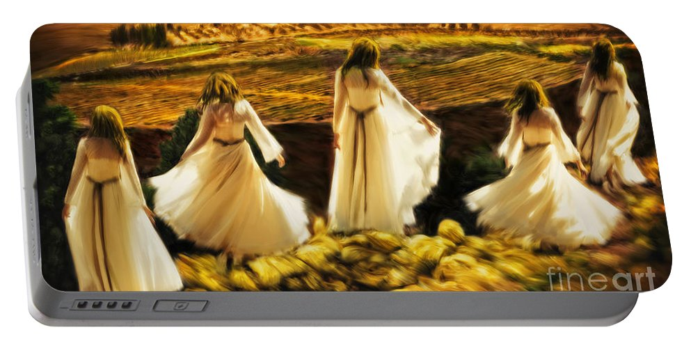 Shiloh Prophetic Art Portable Battery Charger featuring the painting Dance At Shiloh by Constance Woods