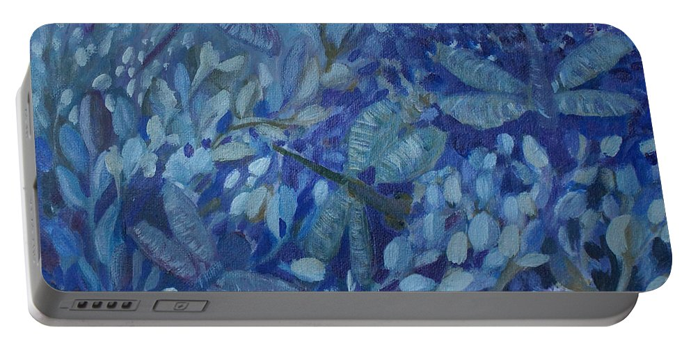 Dragonflies Portable Battery Charger featuring the painting Dance Of The Dragonflies by Joanne Smoley