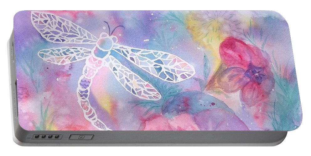 Dragonfly Portable Battery Charger featuring the painting Dance Of The Dragonfly by Ellen Levinson