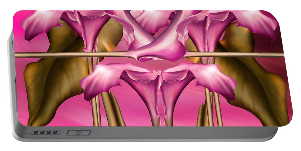 Abstract Realism Portable Battery Charger featuring the digital art Dance Of The Pink Calla Lilies IIi by Georgiana Romanovna