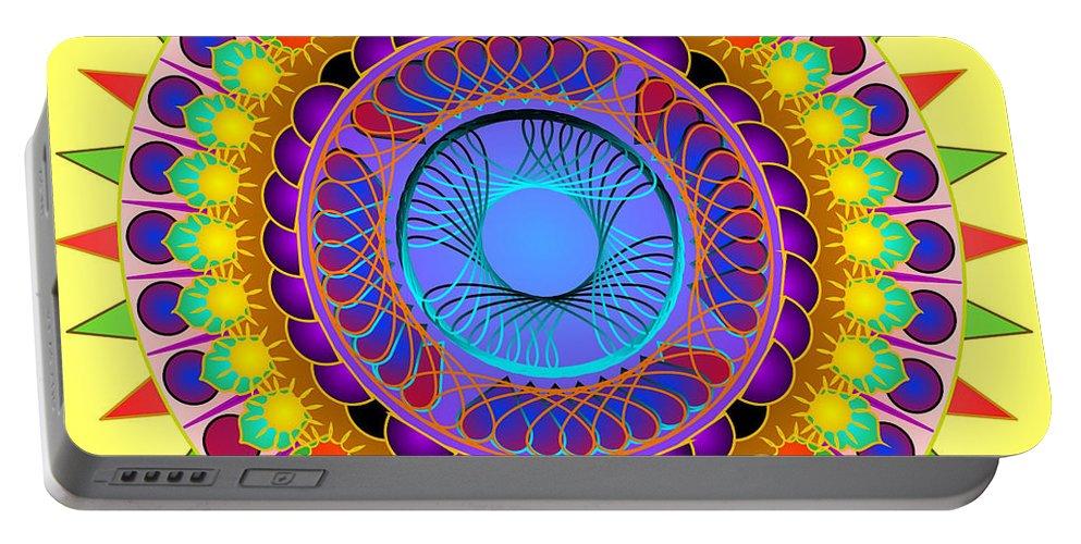 Mandala Art Portable Battery Charger featuring the digital art Dance Of The Sun by Mario Carini