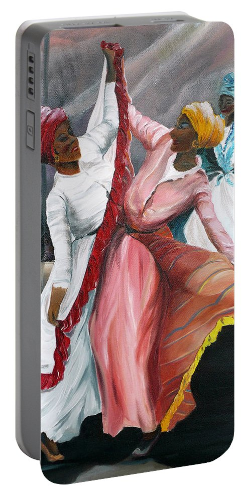 Dancers Folk Caribbean Women Painting Dance Painting Tropical Dance Painting Portable Battery Charger featuring the painting Dance The Pique 2 by Karin Dawn Kelshall- Best