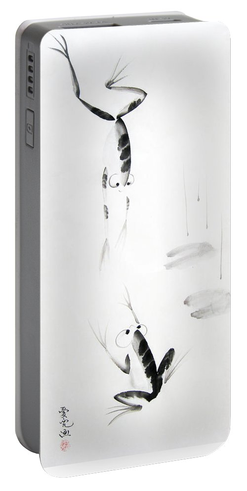Tai Portable Battery Charger featuring the painting Dance With Me by Oiyee At Oystudio