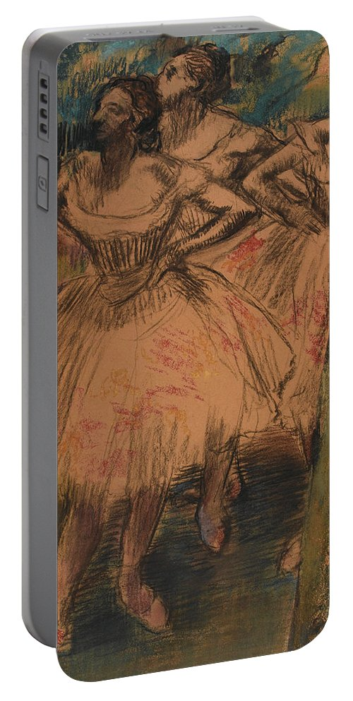 Impressionist Portable Battery Charger featuring the painting Dancer In The Wing by Edgar Degas