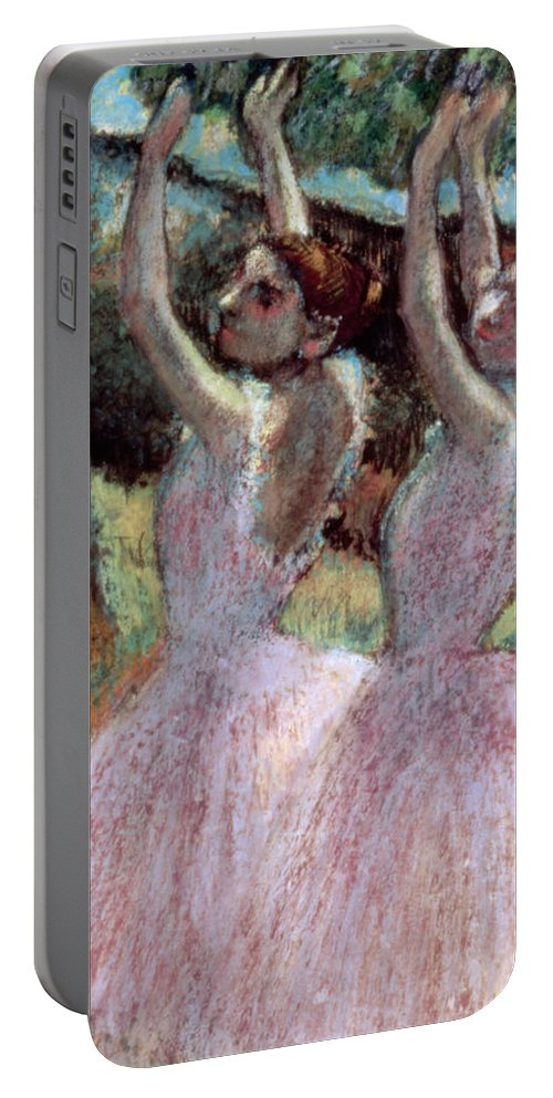 Impressionist Portable Battery Charger featuring the painting Dancers In Violet Dresses by Edgar Degas