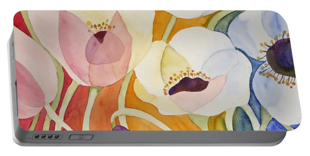 Flowers Portable Battery Charger featuring the painting Dancing Anemones by Shirin Shahram Badie