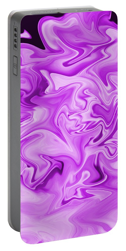 Purple Portable Battery Charger featuring the digital art Dancing Flames-purple by Mechala Matthews
