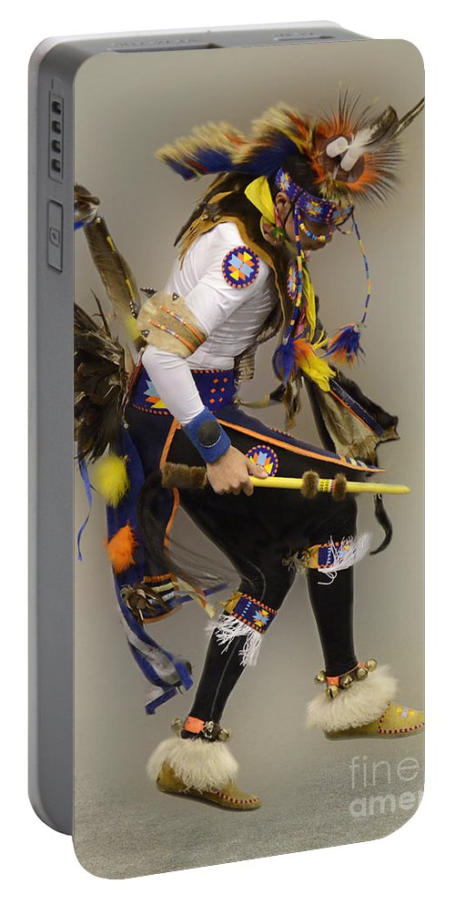 Pow Wow Portable Battery Charger featuring the photograph Pow Wow Dancing For The Spirit by Bob Christopher