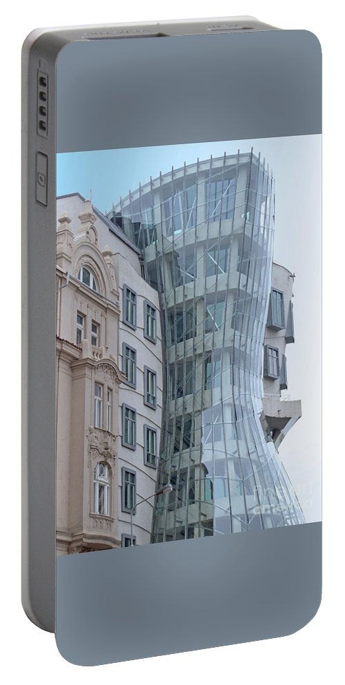 Prague Portable Battery Charger featuring the photograph Dancing House by Ann Horn