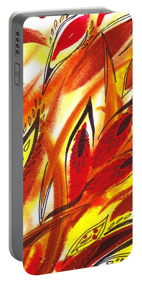 Abstract Portable Battery Charger featuring the painting Dancing Lines Hot Abstract by Irina Sztukowski