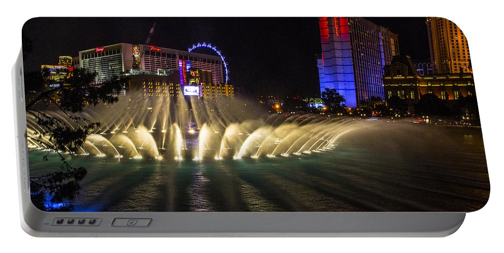 Las Vegas Portable Battery Charger featuring the photograph Dancing Waters 5 by Angus Hooper Iii