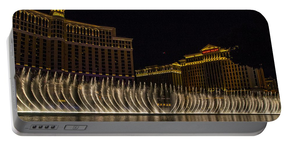 Las Vegas Portable Battery Charger featuring the photograph Dancing Waters 9 by Angus Hooper Iii