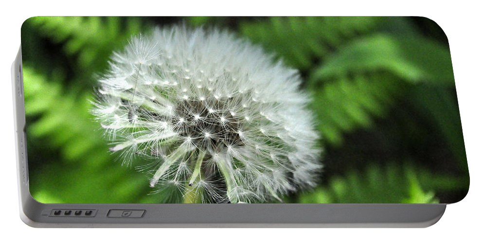 White Portable Battery Charger featuring the digital art Dandelion by Jim Brage