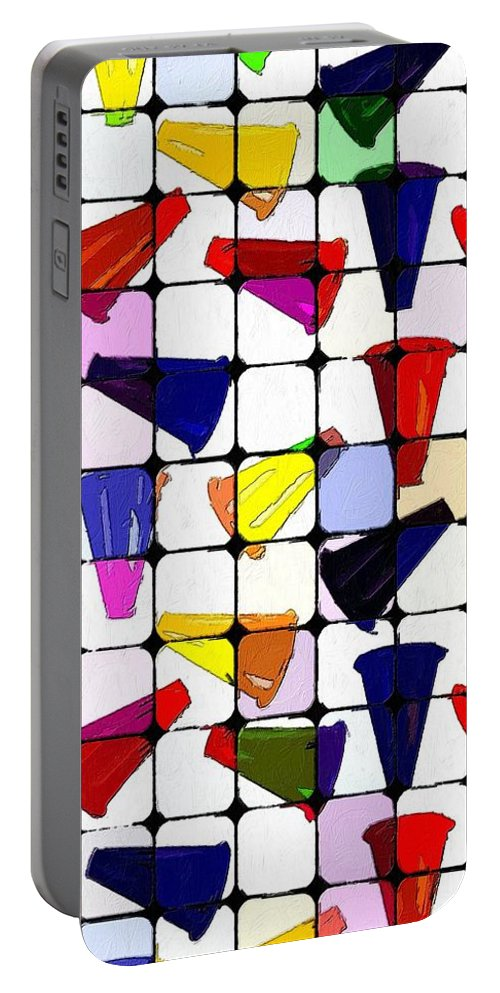 Cones Portable Battery Charger featuring the painting Danger Ahead by Florian Rodarte