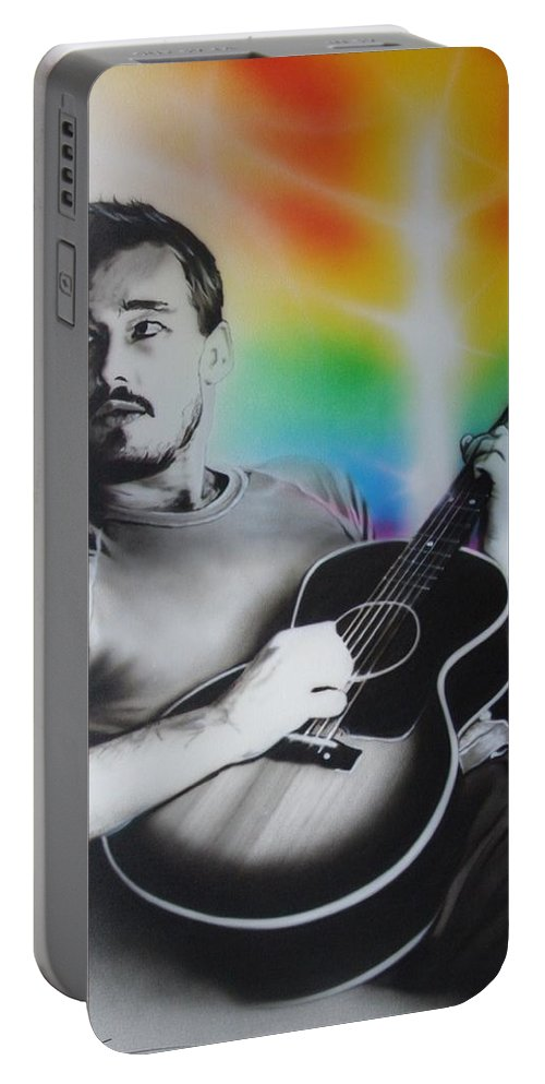 Silverchair Portable Battery Charger featuring the painting Daniel Johns by Christian Chapman Art