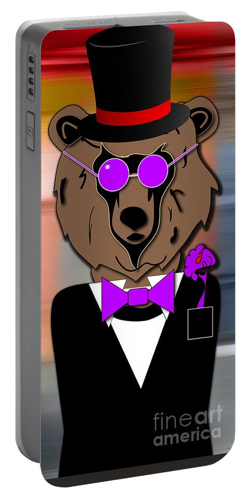 Bear Paintings Mixed Media Portable Battery Charger featuring the mixed media Dapper Dan The Bear by Marvin BlaineBerry The Bear