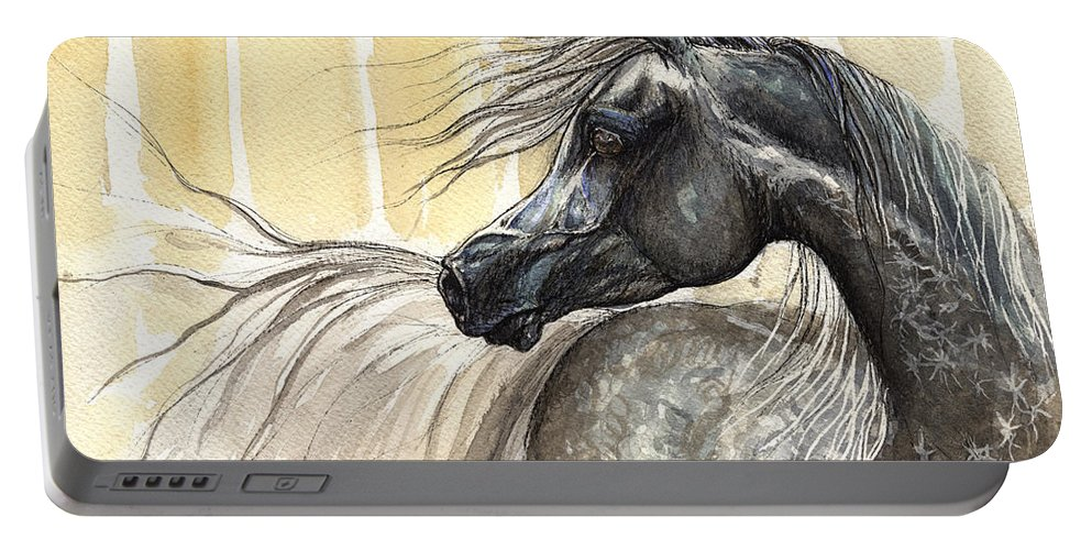 Horse Portable Battery Charger featuring the painting Dark Grey Arabian Horse 2014 02 17 by Angel Ciesniarska