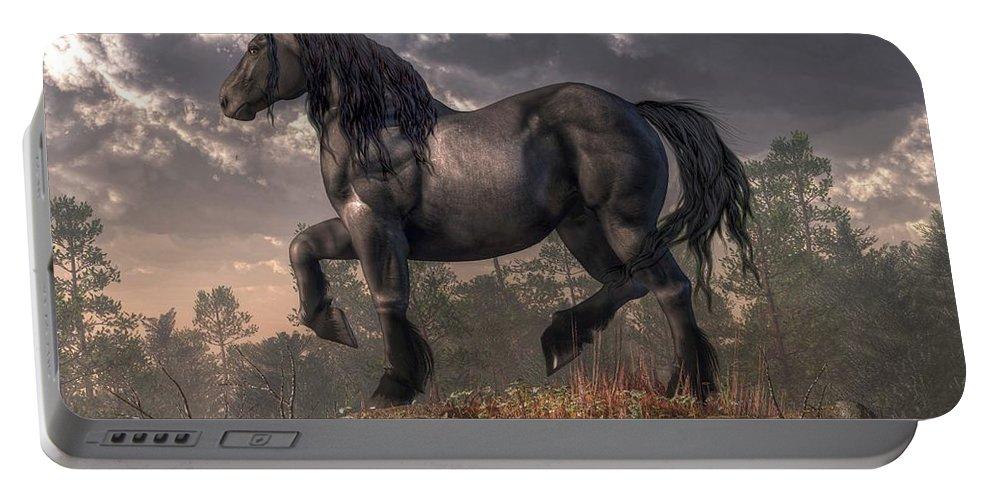 Dark Horse Portable Battery Charger featuring the digital art Dark Horse by Daniel Eskridge