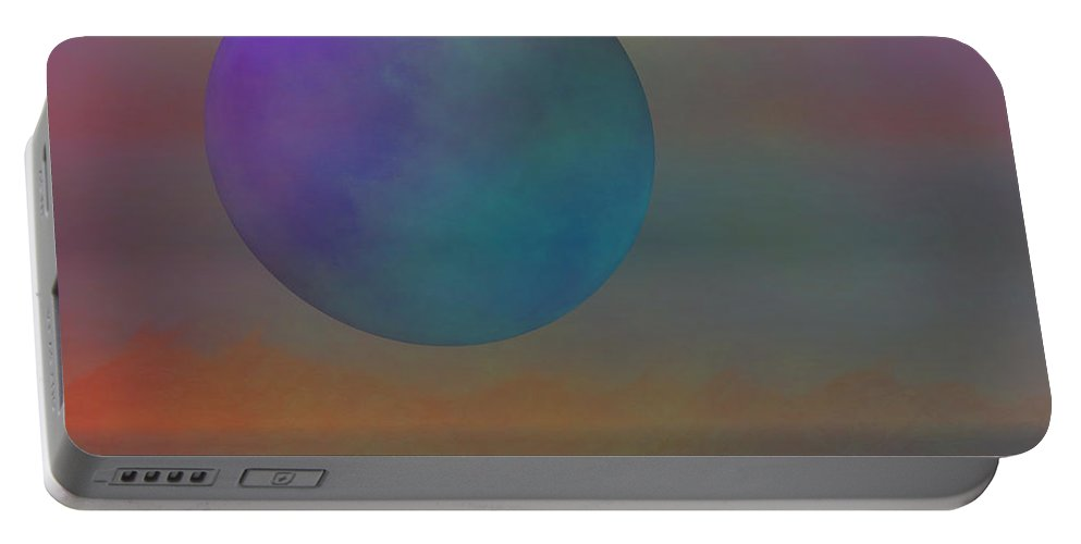 Moon Portable Battery Charger featuring the digital art Dark Moon by Diane Parnell