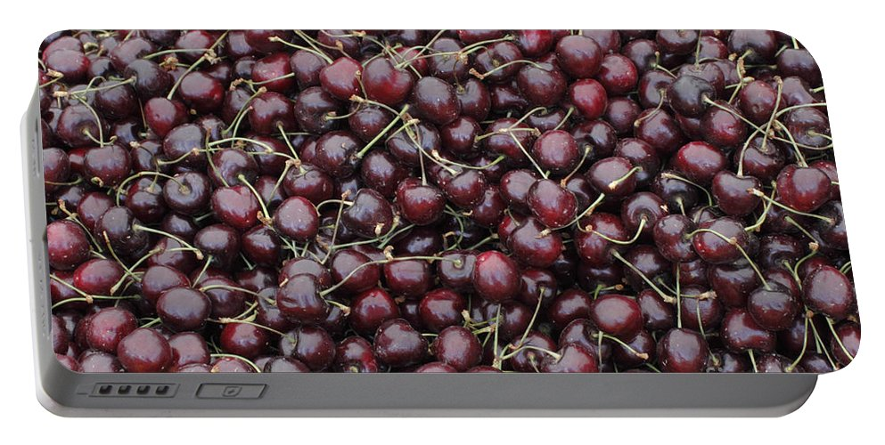 Dark Portable Battery Charger featuring the photograph Dark Red Cherries For Sale by Lee Serenethos