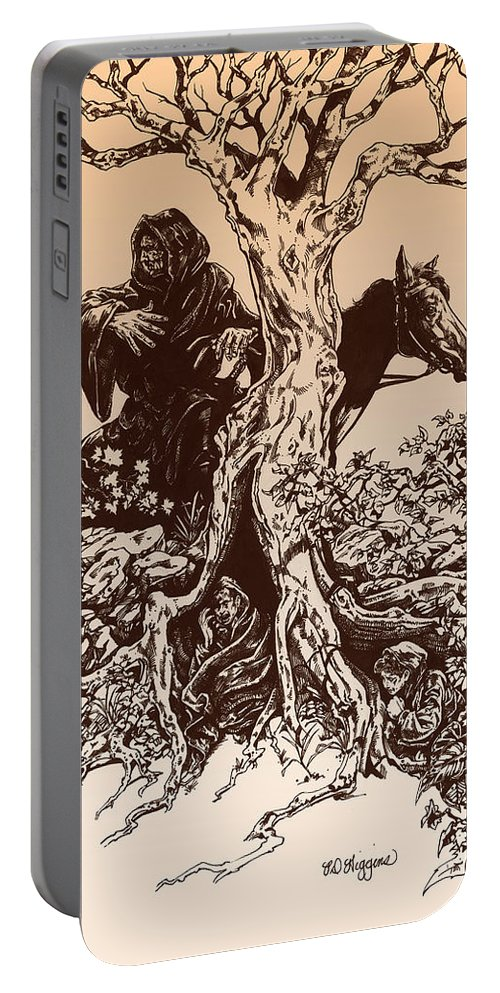 Tolkien Portable Battery Charger featuring the drawing Dark Rider-tolkien Appreciation by Derrick Higgins